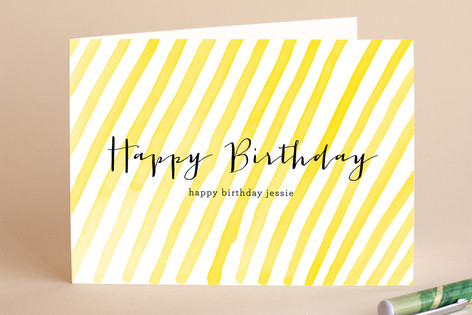 Stripey Birthday Greeting Cards