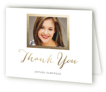 Modern Photo Frame Foil-Pressed Graduation Announcement Thank You Cards