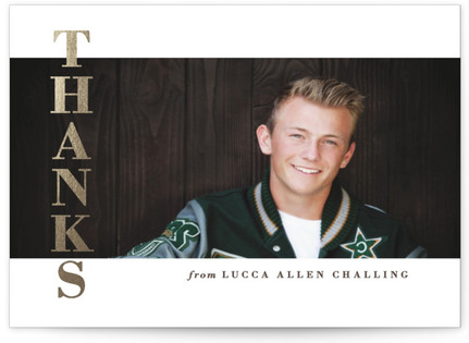 Modern Letterbox Foil-Pressed Graduation Announcement Thank You Cards