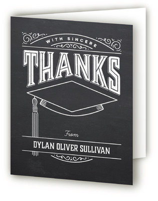 Past and Future Chalkboard Graduation Announcement Thank You Cards