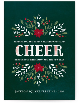 Holly Flourished Cheer Business Holiday Cards