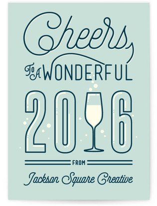 Bubbly New Year Business Holiday Cards