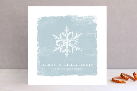 Distressed Snowflake Business Holiday Cards