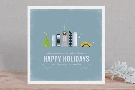 Winter Cityscape Business Holiday Cards