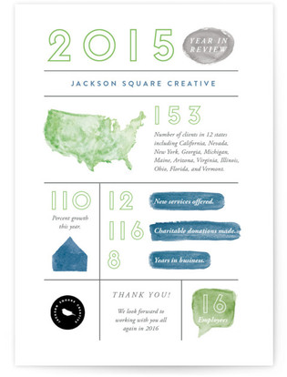 Watercolor Stats Business Holiday Cards