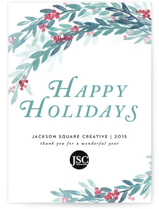 Watercolor Winterberry Business Holiday Cards