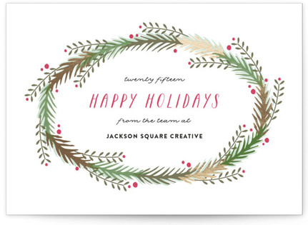 Rustic Wreath Business Holiday Cards