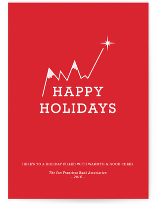 Snowcapped Line Charts Business Holiday Cards