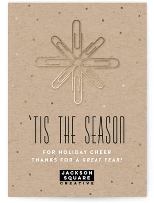 Paperclip Snowflake Business Holiday Cards