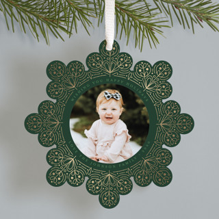 Scandinavian Snowflake Foil-Pressed Holiday Ornament Cards