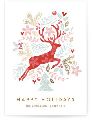Jumping Reindeer Foil-Pressed Holiday Cards