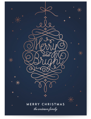 Merry and Bright Ornament Foil-Pressed Holiday Cards