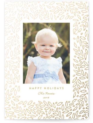 Gilded Leaf Foil-Pressed Holiday Cards