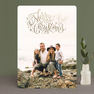 Merry Scripty Christmas Foil-Pressed Holiday Cards