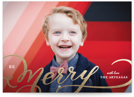 Picture Frame Merry Foil-Pressed Holiday Cards
