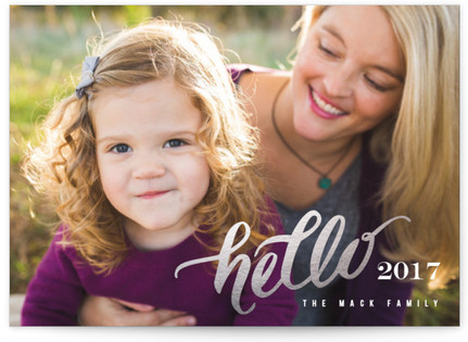 Hello Happy New Year Foil-Pressed Holiday Cards