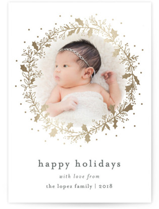 Holly Jolly and Bright Foil-Pressed Holiday Cards