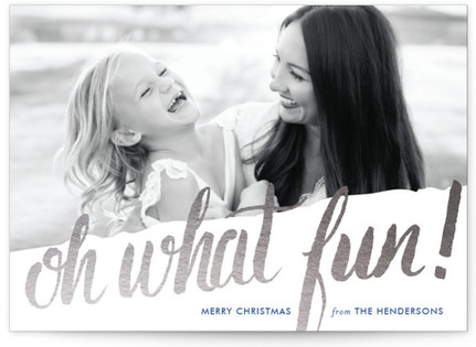 Oh What Water Color Foil-Pressed Holiday Cards