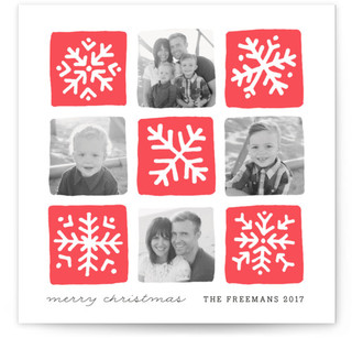 Snowflake Squares Letterpress Holiday Photo Cards