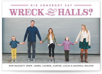 Wreck the Halls Letterpress Holiday Photo Cards