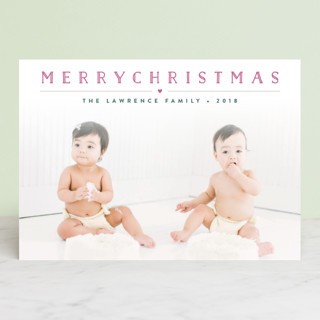 Height of Happiness Letterpress Holiday Photo Cards