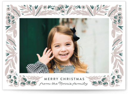 Painted Foliage Letterpress Holiday Photo Cards