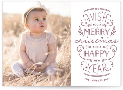 Merry Christmas Happy Year Letterpress Holiday Photo Cards