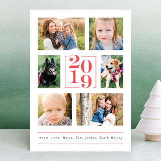 Engraved Numerals Letterpress Holiday Photo Cards