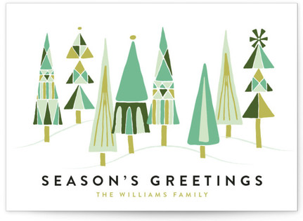 Patterned Tree Forest Holiday Non-Photo Cards