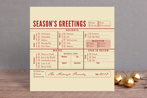 Season's Greetings Checklist Holiday Cards