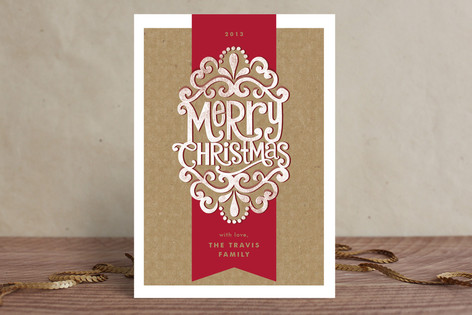Kraft Ribbon Holiday Cards