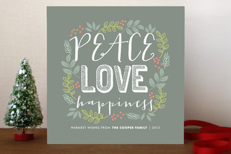 Peace Love Happiness Holiday Cards