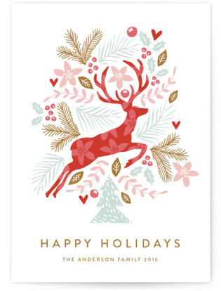 Jumping Reindeer Holiday Non-Photo Cards