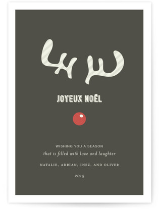 Joyeux Noel + Reindeer Holiday Non-Photo Cards