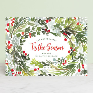 Merry Holiday Wreath Holiday Cards