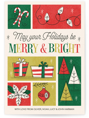Retro Merry & Bright Holiday Non-Photo Cards