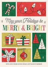 Retro Merry & Bright Holiday Non-Photo Cards