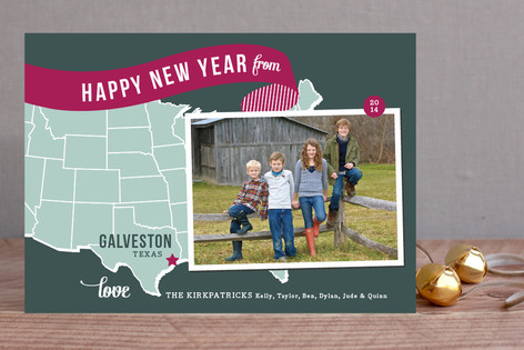 Holiday Map - Midwest New Year Photo Cards