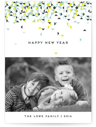 Modern Confetti New Year's Photo Cards