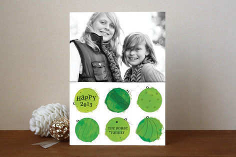 Painted Baubles New Year Photo Cards