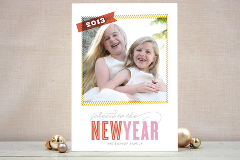 Dashed Frame New Year Photo Cards