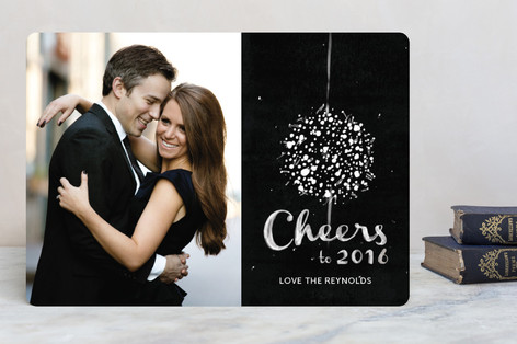 Elegant Ball Drop New Year Photo Cards