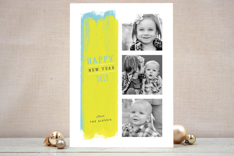 Paint Strokes New Year Photo Cards