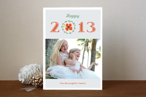 Fresh Bloom New Year Photo Cards