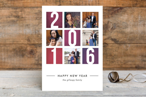 Color Blocks New Year Photo Cards