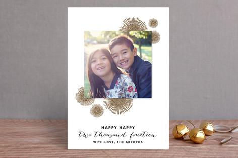 Bursting Poms New Year Photo Cards