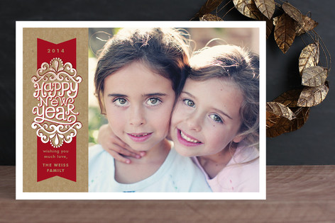 Kraft Ribbon New Year Photo Cards