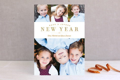 Sparkling Border New Year Photo Cards