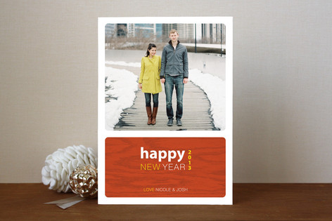 Urban Wood Grain New Year Photo Cards