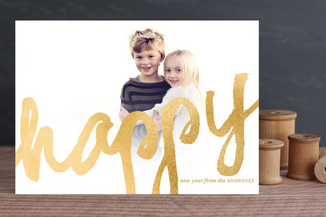 Brushed Gold New Year Photo Cards